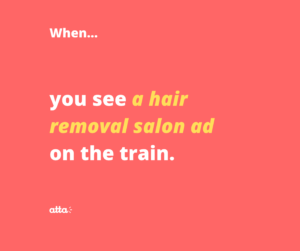 hair removal ad on the train